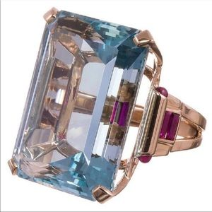 NEW 18K Rose Gold 10.4 CT Aquamarine Ring